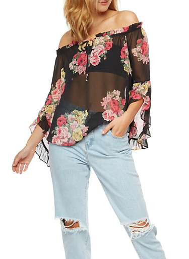 Off the Shoulder Floral Chiffon Top,BLACK,large