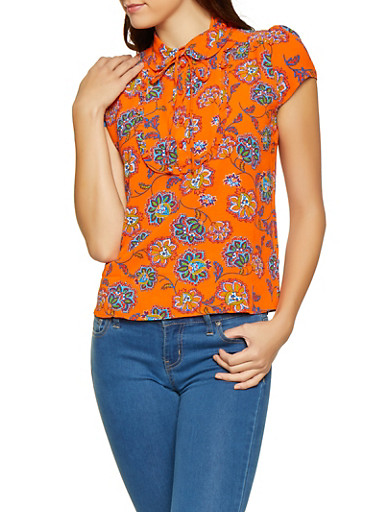 Printed Tie Neck Blouse,ORANGE,large