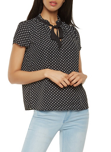 Tie Neck Polka Dot Blouse,BLACK,large