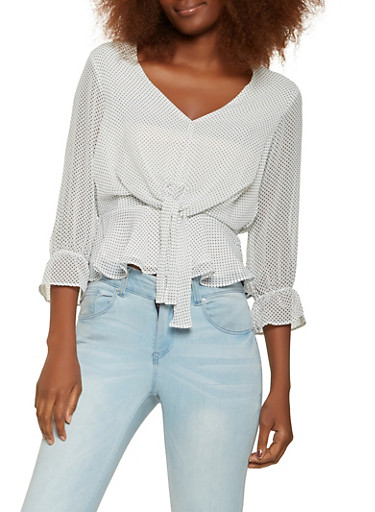 Polka Dot Tie Front Blouse,WHITE,large