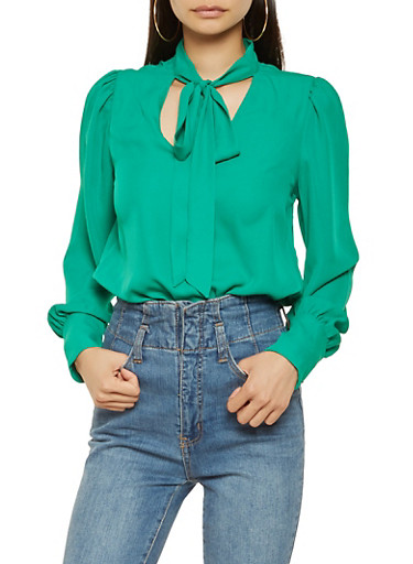 Crepe Knit Tie Neck Blouse,GREEN,large