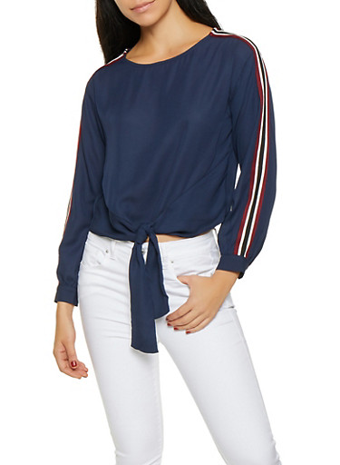 Tie Front Striped Sleeve Top,NAVY,large