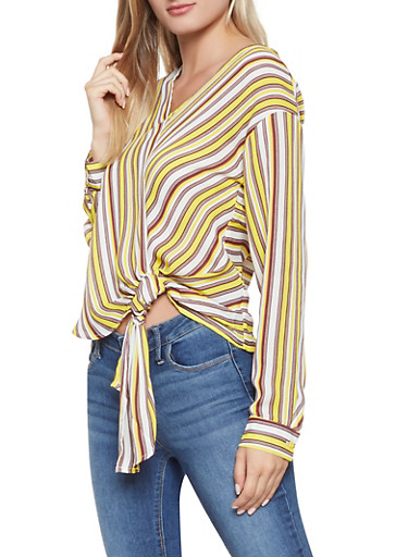 Striped Tie Front Blouse,YELLOW,large
