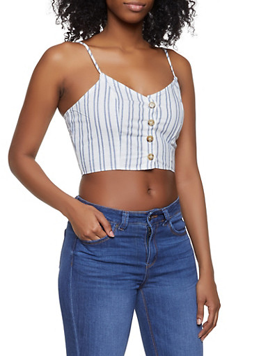 Striped Button Front Cropped Cami,WHITE,large