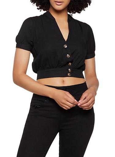 Faux Wrap Button Crop Top,BLACK,large