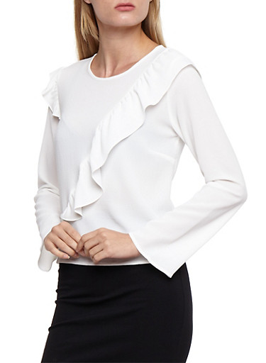 Crepe Knit Long Sleeve Top with Ruffle Details,WHITE,large