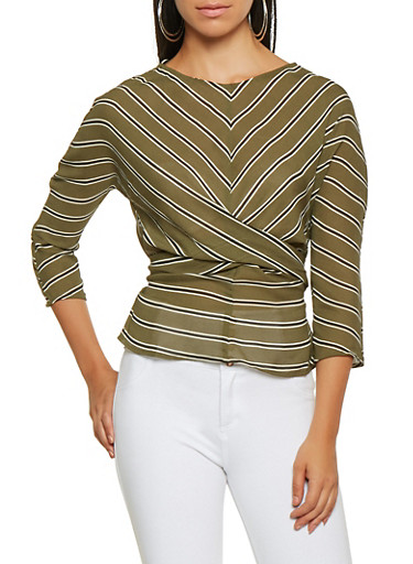Striped Tie Back Top,OLIVE,large