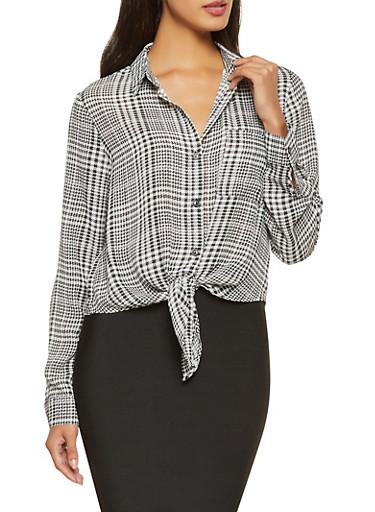 Plaid Tie Front Shirt,BLACK/WHITE,large