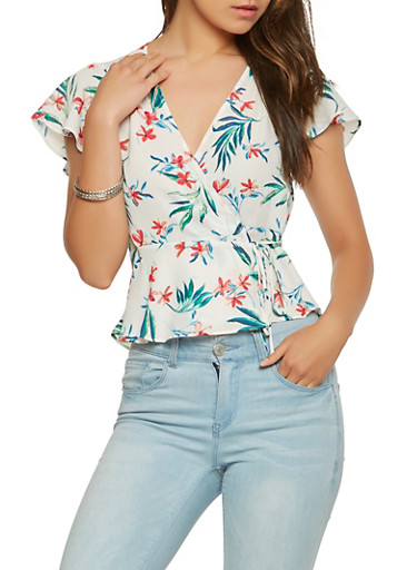 Flutter Sleeve Printed Wrap Top,WHITE,large