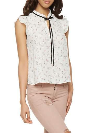 Floral Cap Sleeve Blouse,WHITE,large
