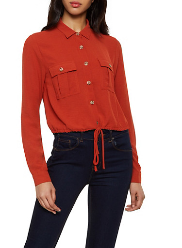 Drawstring Waist Button Front Top,RUST,large