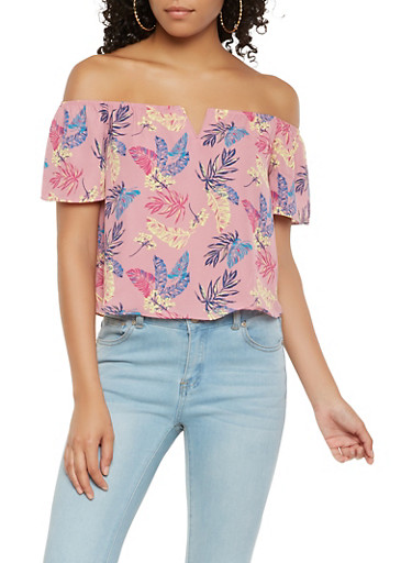 Printed Off the Shoulder Top,MAUVE,large