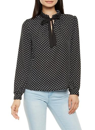 Long Sleeve Polka Dot Blouse,BLACK/WHITE,large