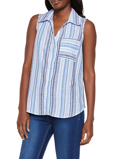 Striped Lace Up Back Linen Shirt,BLUE,large