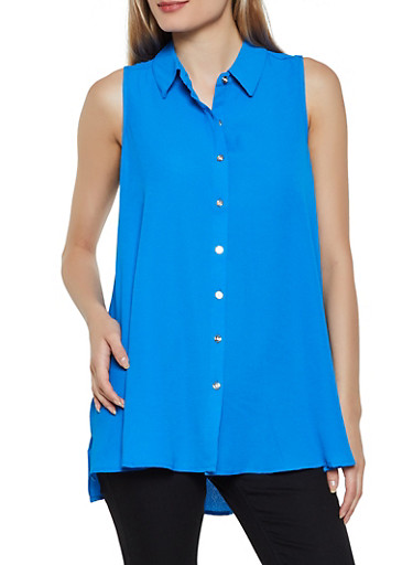 Sleeveless Crepe Knit Button Front Shirt,RYL BLUE,large
