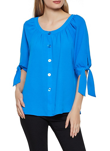 Crepe Knit Button Tie Sleeve Top,RYL BLUE,large