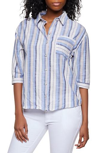 Striped Three Quarter Sleeve Linen Shirt,BLUE,large