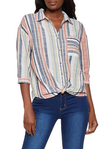 Three Quarter Sleeve Striped Linen Shirt,CORAL,large