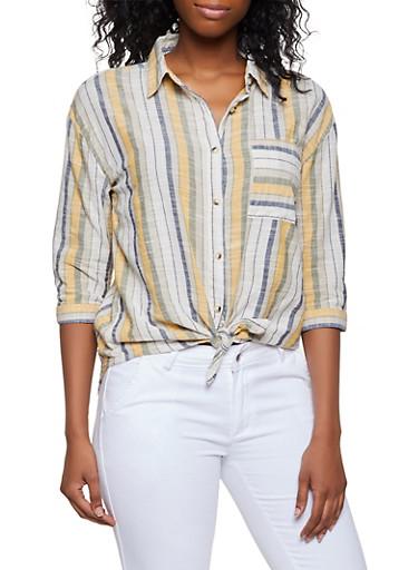 Striped Three Quarter Sleeve Shirt,MUSTARD,large