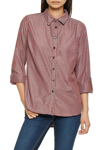 Striped Tabbed Sleeve Shirt,RED,large