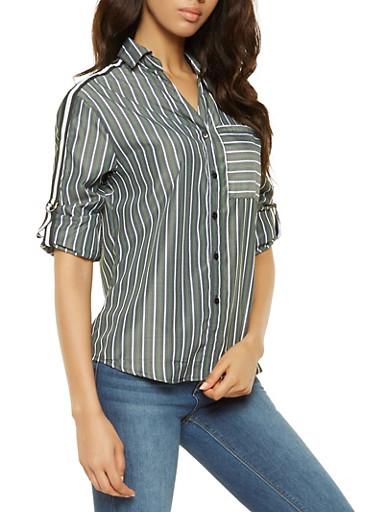 Striped Side Tape Detail Shirt,GREEN,large