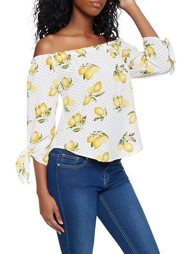 Lemon Print Off the Shoulder Top,WHITE,large