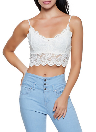 Scalloped Floral Lace Crop Top,IVORY,large