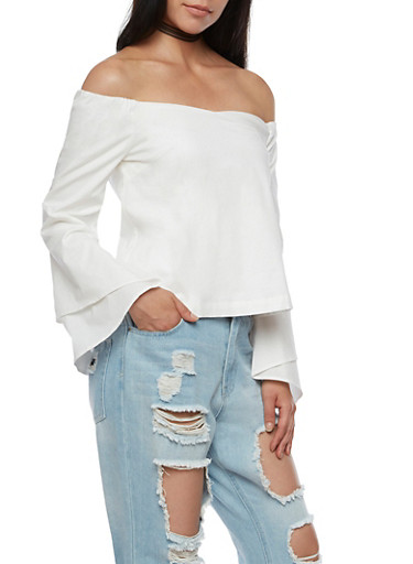 Off The Shoulder Top with Tiered Bell Sleeves,WHITE,large