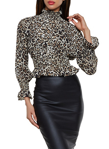 Leopard Print Smocked Top,BROWN,large