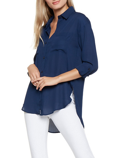 Button Front High Low Shirt,NAVY,large