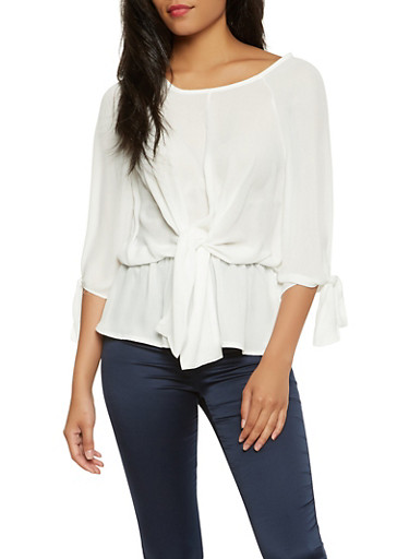 Tie Front Peplum Blouse,IVORY,large