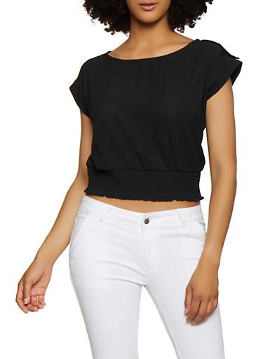 Smocked Waist Cap Sleeve Blouse,BLACK,large