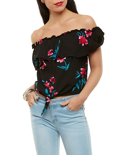 Floral Tie Front Off the Shoulder Top,BLACK,large