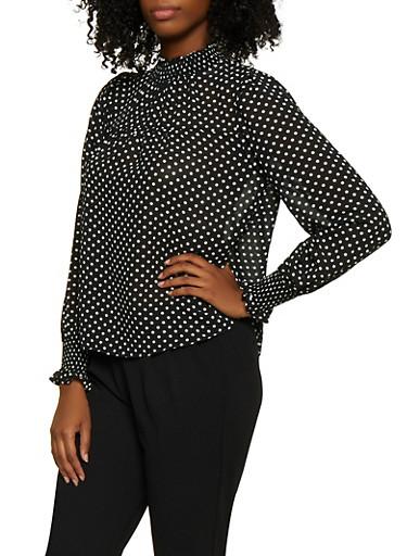 Smocked Detail Polka Dot Blouse,BLACK/WHITE,large