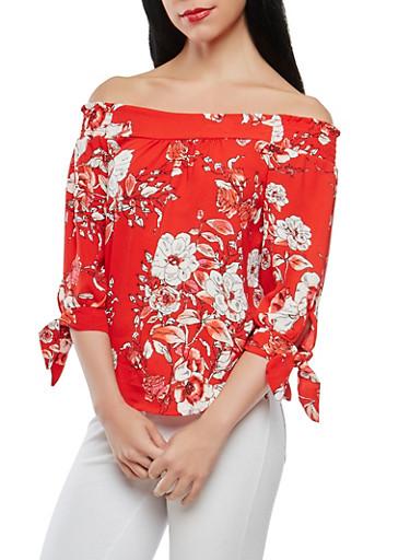 Floral Off the Shoulder Top,RED,large