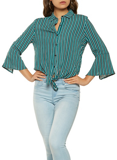 Striped Tie Front Shirt,GREEN,large
