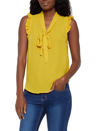 Sleeveless Tie Neck Blouse | 3401069390904,YELLOW,large