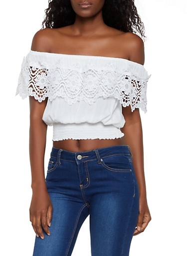 Crochet Detail Off the Shoulder Top,WHITE,large