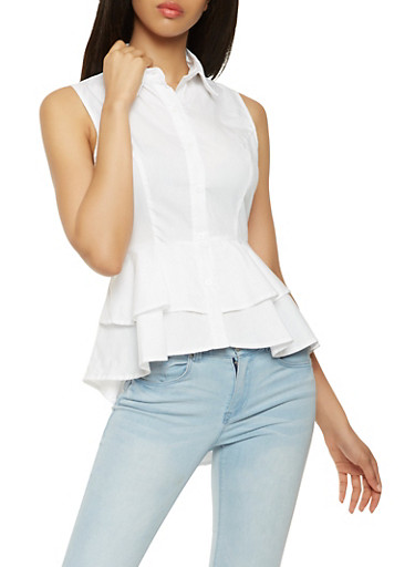 Tiered Peplum Button Front Shirt,WHITE,large