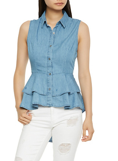 Button Front Chambray Peplum Top,MEDIUM WASH,large