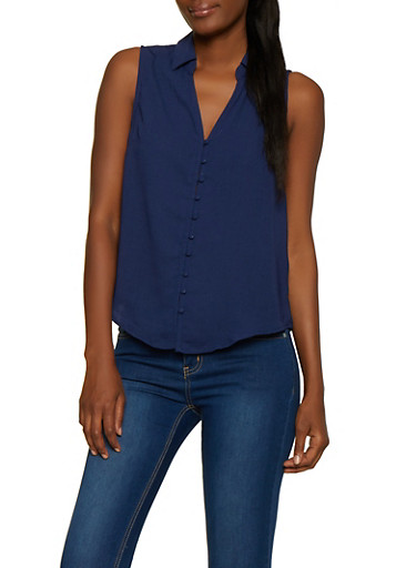 Sleeveless Button Front Shirt,NAVY,large