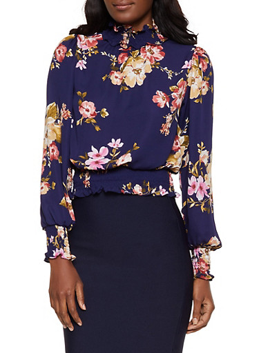 Floral Smocked Trim Top,NAVY,large
