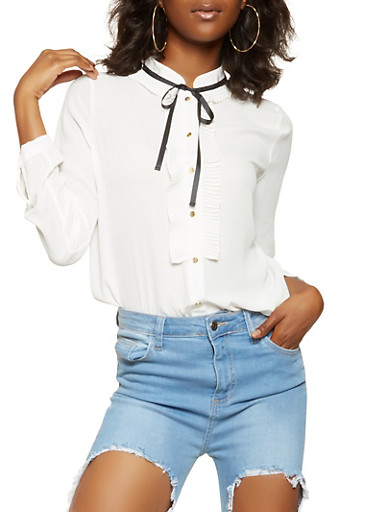 Tie Neck Button Front Shirt,WHITE,large