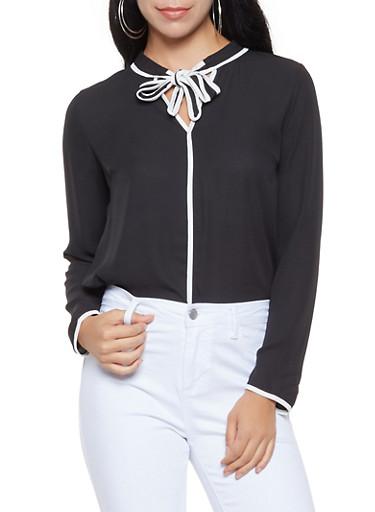 Contrast Trim Tie Neck Blouse,BLACK/WHITE,large