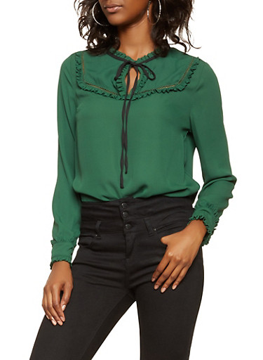 Ruffle Trim Tie Neck Blouse,GREEN,large