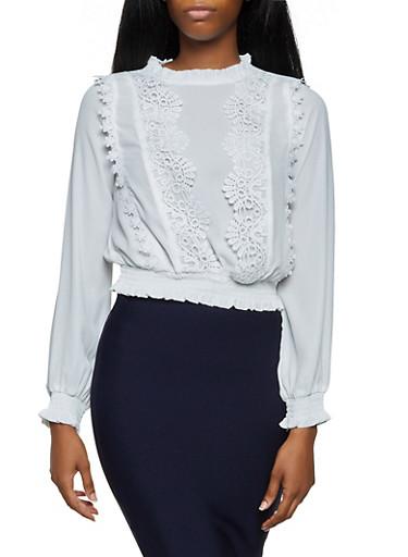 Smocked Crochet Detail Blouse,WHITE,large
