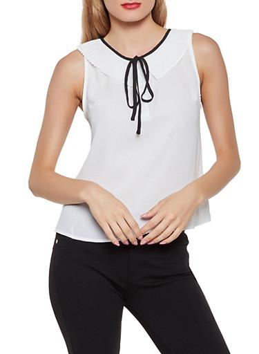 Pleated Collar Sleeveless Blouse,WHITE,large