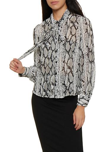 Snake Print Tie Neck Blouse,BLACK/WHITE,large