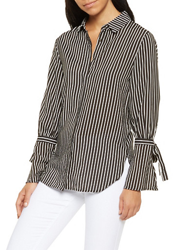 Striped Bell Sleeve Button Front Shirt,BLACK,large