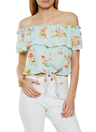 Gauze Knit Floral Off the Shoulder Top,MINT,large